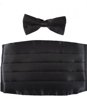 Poly Satin Black Cummerbund and Bow Tie Set #105CTX