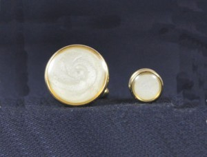 Gold & Pearl Cuff Link and Stud Set #1101-G