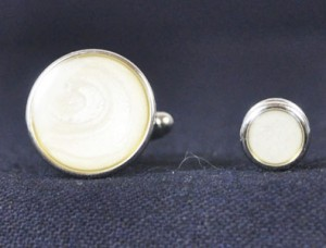 Silver & Pearl Cuff Link and Stud Set #1101-S