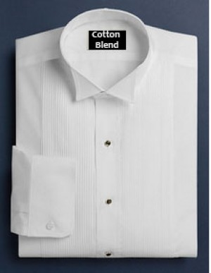 White Cotton Blend Pleated Wing Collar Formal Shirt #111