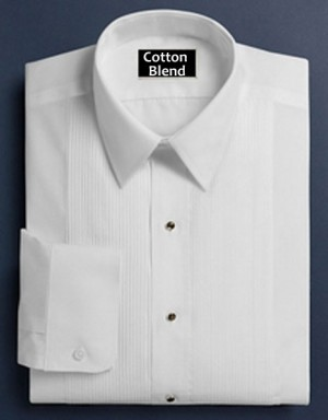 White Cotton Blend Pleated Laydown  Collar Forma