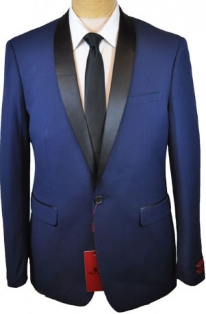 Medium Blue Shawl Collar Slim Fit Tuxedo Package
