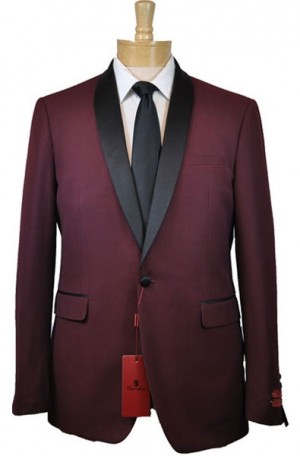 Burgundy Shawl Lapel Slim Fit Tuxedo #201-8