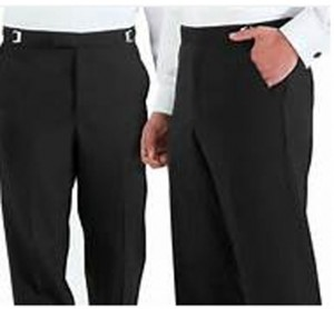 Black Flat Front Tuxedo Slacks #3533PF