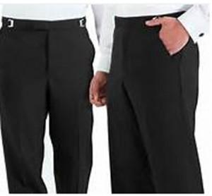 Black Pleat Front Tuxedo Slacks #3534P