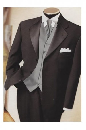 3-button Black Tuxedo with Pleated Slacks #43T6003B