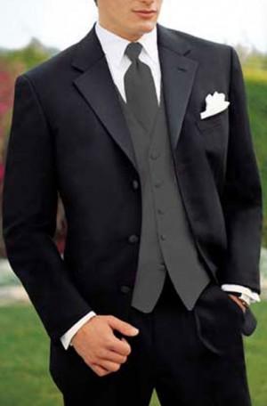 Teezo Uomo Black 3-Button Tuxedo with Pleated Slacks #48T600