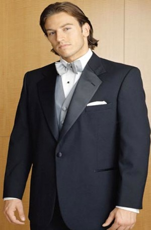 Black 1 Button Notch Lapel Tuxedo