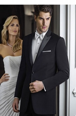 Black 1-Button Peak Lapel Tuxedo