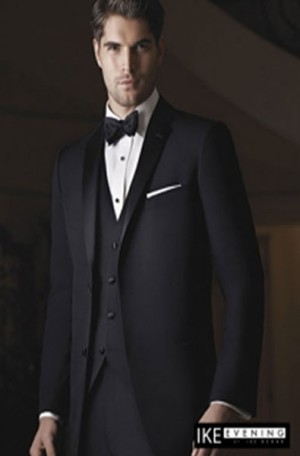 Ike Behar Black Notch Lapel Tuxedo