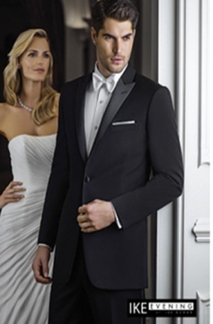Ike Behar Black Peak Lapel Tuxedo #8361C