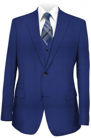 The Perfect Wedding Suit - Classic or Slim Fit Cobalt Blue Vested Suit