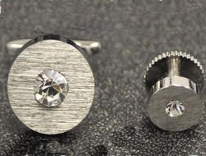 Silver Disk Cufflink and Stud Set #FS143