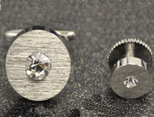 Silver Disk Cuff Link and Stud Set #FS143