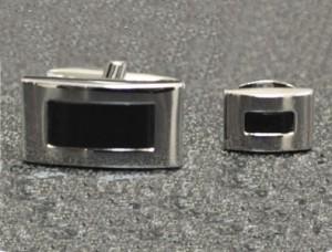Silver Rectangular Cufflink and Stud Set #FS149