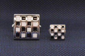 Checker Board Cuff Link & Stud Set #FS155