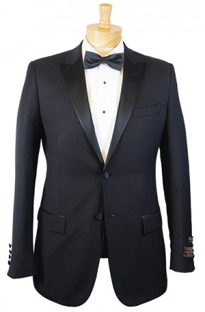 Tiglio Black Fine Herringbone Peak Lapel Tuxedo #FT3022-4