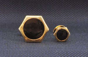 Gold Hexagon Cuff Links and Stud Set #GOLD-OCTAGON