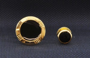 Gold Round Accent Cuff Link & Stud Set #GOLD-ROUNDI