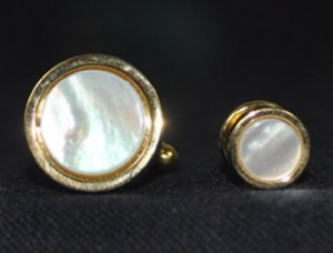Gold & Mother of Pearl Cuff Link & Stud Set #MOP-G