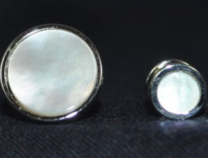 Cuff Link & Stud Set Silver & Mother of Pearl #MOP-S