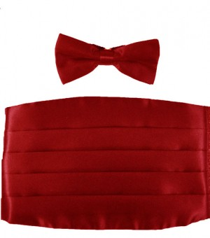 Red Satin Cummerbund and Bow Tie Set #RED-CMMRBND