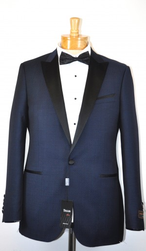 Tiglio Blue Shadow Dot Modern Fit Tuxedo #RF1156-2