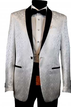 Tallia White Pattern Slim Fit Dinner Jacket #TVV0110