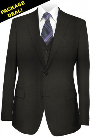The Perfect Wedding Suit Package – Classic or Slim Fit. Solid Black Vested Suit