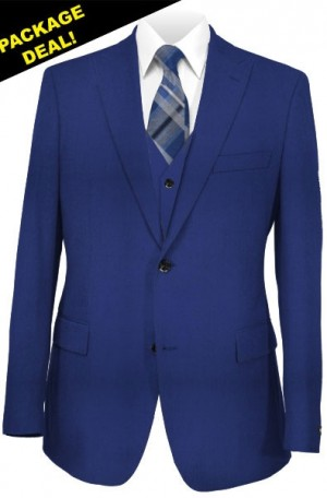 The Perfect Wedding Suit Package – Classic or Slim Fit. Cobalt Blue Vested Suit