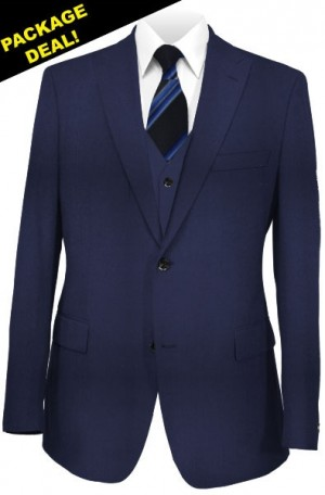 The Perfect Wedding Suit Package – Classic or Slim Fit. Solid Navy Vested Suit