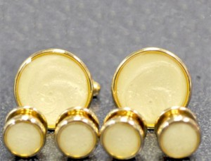 Cuff Links and Stud Set - Gold & Pearl #1101-G