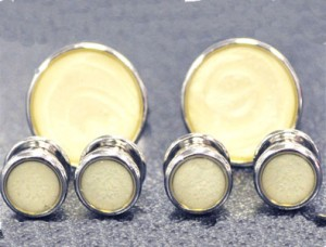 Cuff Links and Stud Set - Silver & Pearl #1101-S