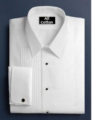 White Cotton Pleated Laydown Collar Formal Shirt #1111
