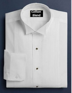 White Cotton Blend Wing Collar Formal Shirt #122