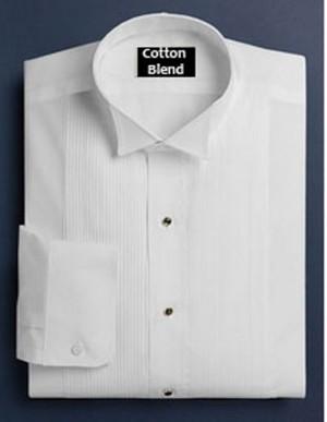 White Cotton Blend Wing Collar Formal Shirt #122
