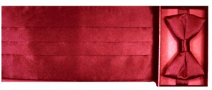 100 Silk Red Cummerbund and Bow Tie Set