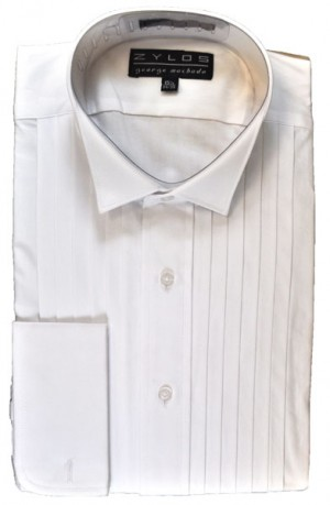 White Cotton Pleated Front Wing Collar Formal Shirt #2222