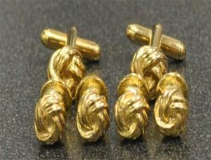 Gold Knots Cuff Links & Stud Set #GOLD KNOTS