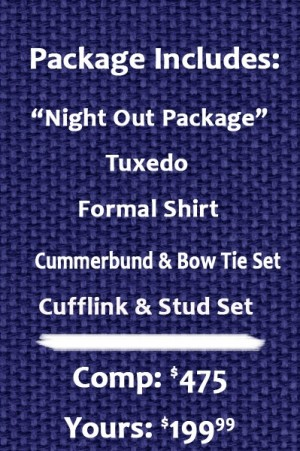 Night Out Pure Wool Tuxedo Package Slim Fit Or Classic Fit