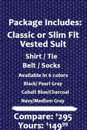 The Perfect Wedding Suit Package – Claasic or Slim Fit. Solid Charcoal Vested Suit